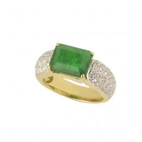 18k Yellow Gold Emerald & Diamond Dress Ring 3.78ct